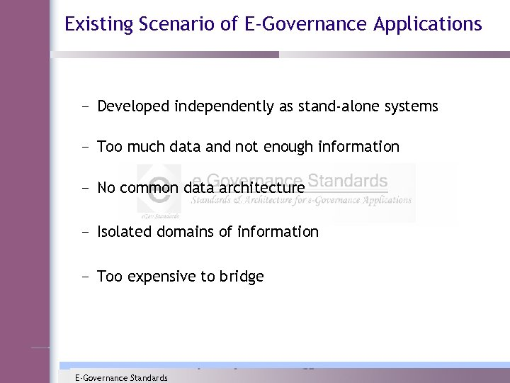 Existing Scenario of E-Governance Applications – Developed independently as stand-alone systems – Too much