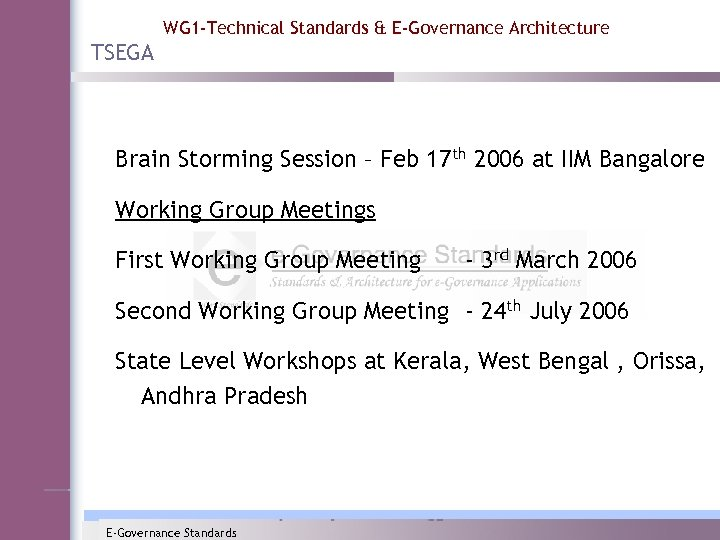 WG 1 -Technical Standards & E-Governance Architecture TSEGA Brain Storming Session – Feb 17