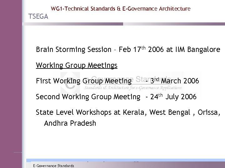 WG 1 -Technical Standards & E-Governance Architecture TSEGA Brain Storming Session – Feb 17