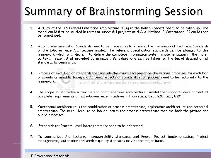Summary of Brainstorming Session 1. A Study of the U. S Federal Enterprise Architecture