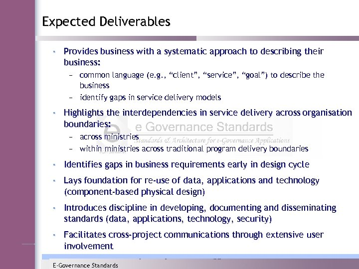 Expected Deliverables • Provides business with a systematic approach to describing their business: –