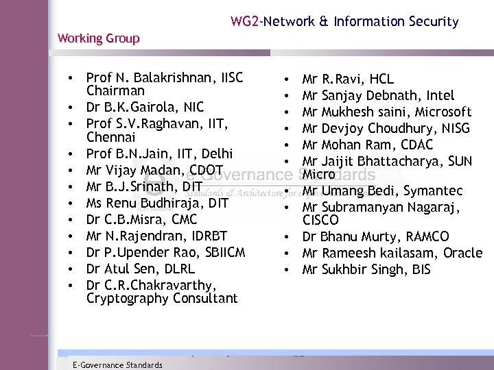 WG 2 -Network & Information Security Working Group • Prof N. Balakrishnan, IISC Chairman