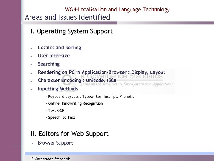 WG 4 -Localisation and Language Technology Areas and Issues Identified I. Operating System Support