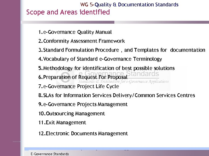 WG 5 -Quality & Documentation Standards Scope and Areas identified 1. e-Governance Quality Manual