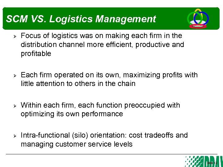 SCM VS. Logistics Management Ø Ø Focus of logistics was on making each firm