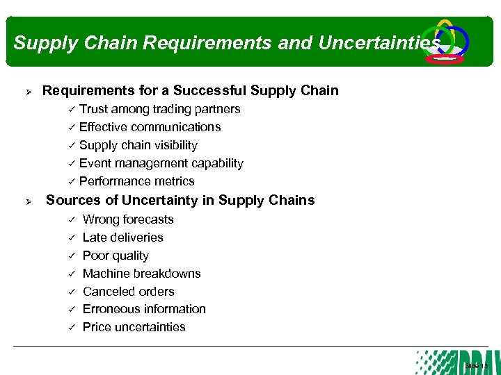 Supply Chain Requirements and Uncertainties Ø Requirements for a Successful Supply Chain Ø Trust