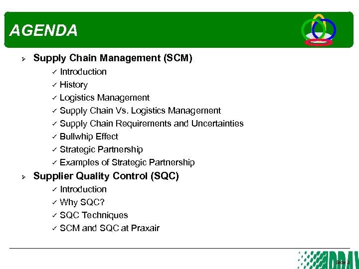 AGENDA Ø Supply Chain Management (SCM) Ø Introduction History Logistics Management Supply Chain Vs.