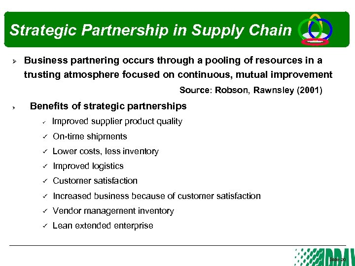 Strategic Partnership in Supply Chain Ø Business partnering occurs through a pooling of resources