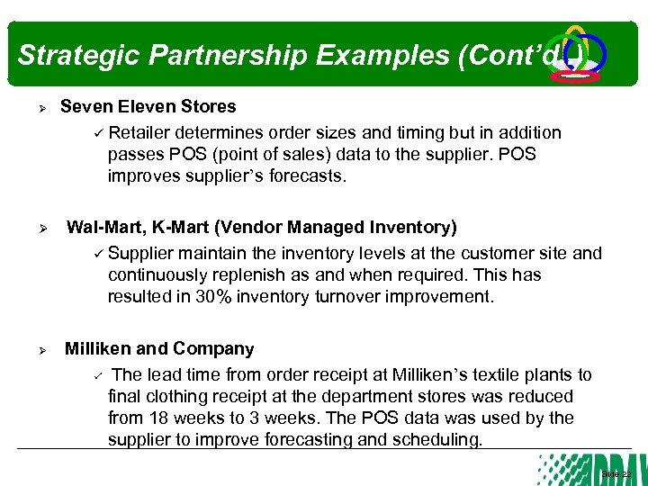 Strategic Partnership Examples (Cont'd. . ) Ø Ø Ø Seven Eleven Stores Retailer determines