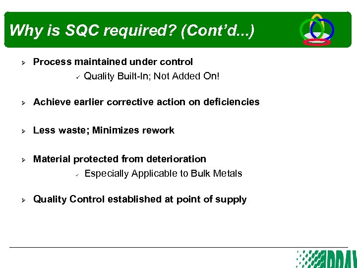 Why is SQC required? (Cont'd. . . ) Ø Process maintained under control Quality