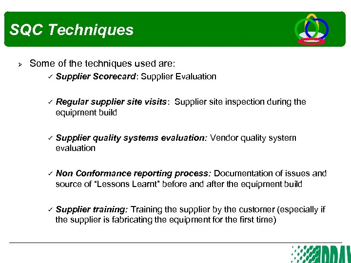 SQC Techniques Ø Some of the techniques used are: Supplier Scorecard: Supplier Evaluation Regular