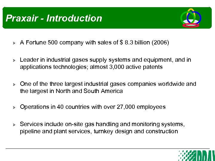 Praxair - Introduction Ø Ø Ø A Fortune 500 company with sales of $