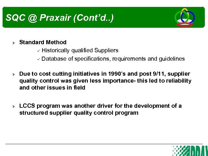 SQC @ Praxair (Cont'd. . ) Ø Ø Ø Standard Method Historically qualified Suppliers