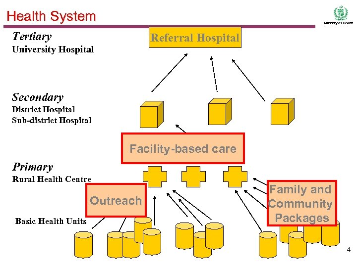 Health System Ministry of Health Tertiary Referral Hospital University Hospital Secondary District Hospital Sub-district