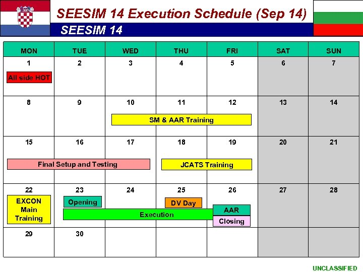SEESIM 14 Execution Schedule (Sep 14) SEESIM 14 MON TUE WED THU FRI SAT