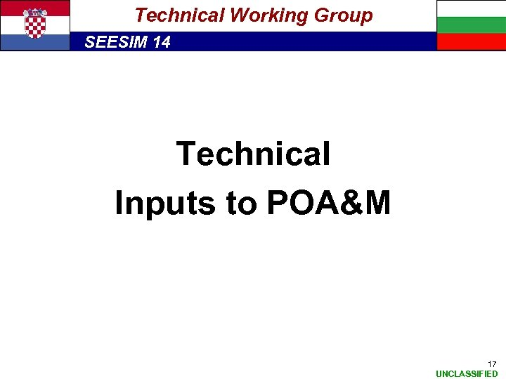 Technical Working Group SEESIM 14 Technical Inputs to POA&M 17 UNCLASSIFIED