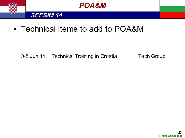 POA&M SEESIM 14 • Technical items to add to POA&M 3 -5 Jun 14