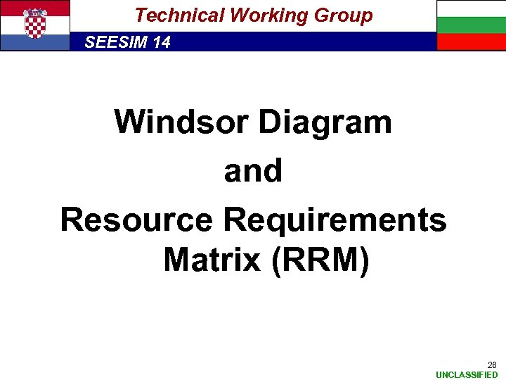 Technical Working Group SEESIM 14 Windsor Diagram and Resource Requirements Matrix (RRM) 26 UNCLASSIFIED