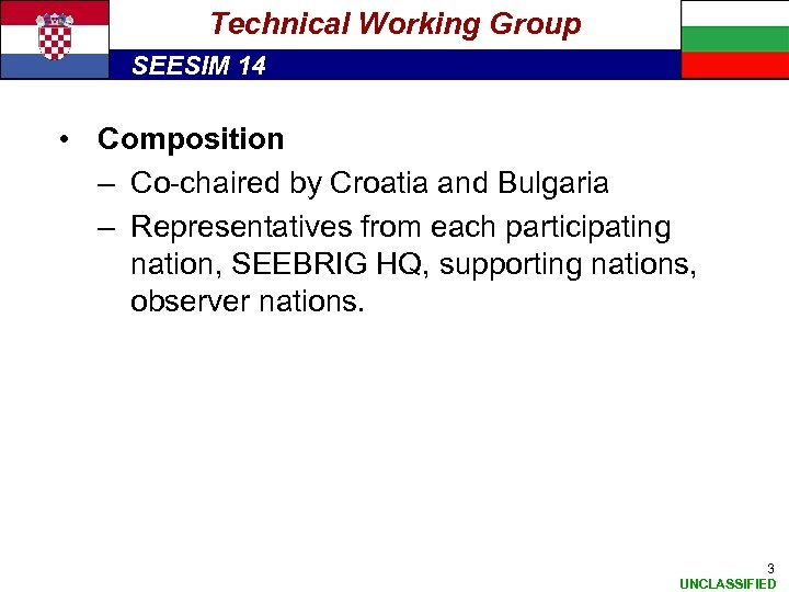Technical Working Group SEESIM 14 • Composition – Co-chaired by Croatia and Bulgaria –