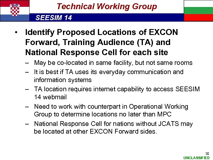 Technical Working Group SEESIM 14 • Identify Proposed Locations of EXCON Forward, Training Audience