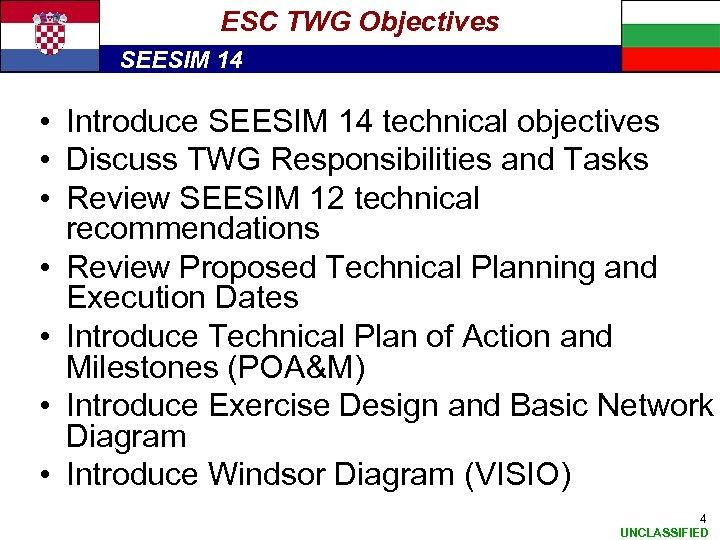 ESC TWG Objectives SEESIM 14 • Introduce SEESIM 14 technical objectives • Discuss TWG