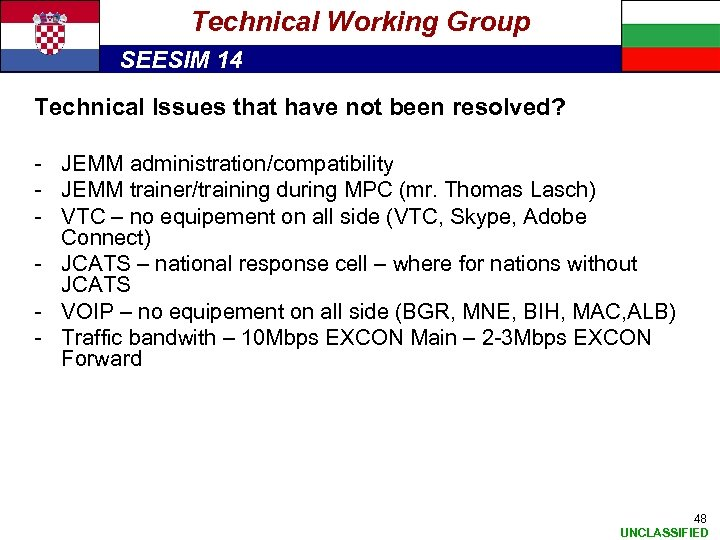 Technical Working Group SEESIM 14 Technical Issues that have not been resolved? - JEMM