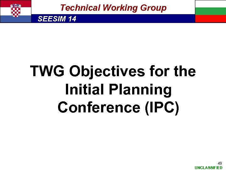 Technical Working Group SEESIM 14 TWG Objectives for the Initial Planning Conference (IPC) 49