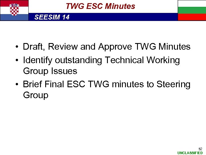 TWG ESC Minutes SEESIM 14 • Draft, Review and Approve TWG Minutes • Identify