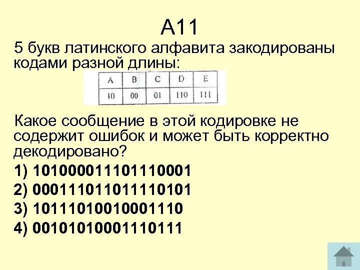 А 11 5 букв латинского алфавита закодированы кодами разной длины: Какое сообщение в этой