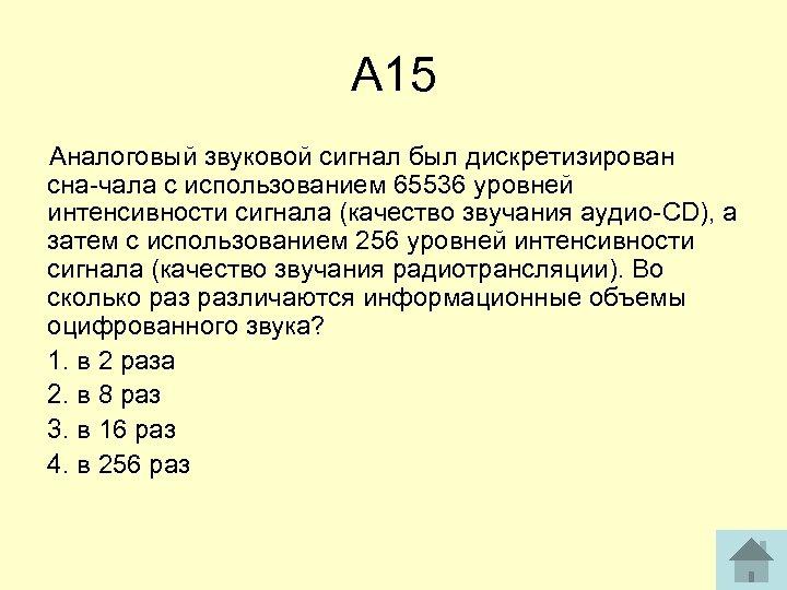 А 15 Аналоговый звуковой сигнал был дискретизирован сна чала с использованием 65536 уровней интенсивности