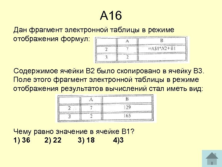 А 16 Дан фрагмент электронной таблицы в режиме отображения формул: Содержимое ячейки В 2