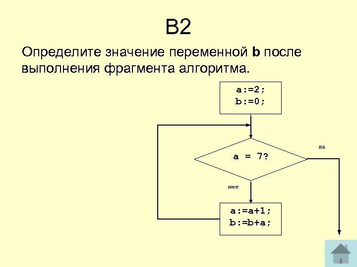 В 2 Определите значение переменной b после выполнения фрагмента алгоритма. a: =2; b: =0;