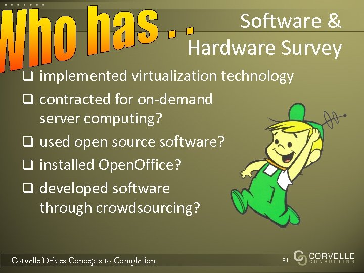 Software & Hardware Survey q implemented virtualization technology q contracted for on-demand server computing?