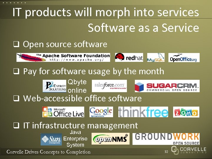 IT products will morph into services Software as a Service q Open source software