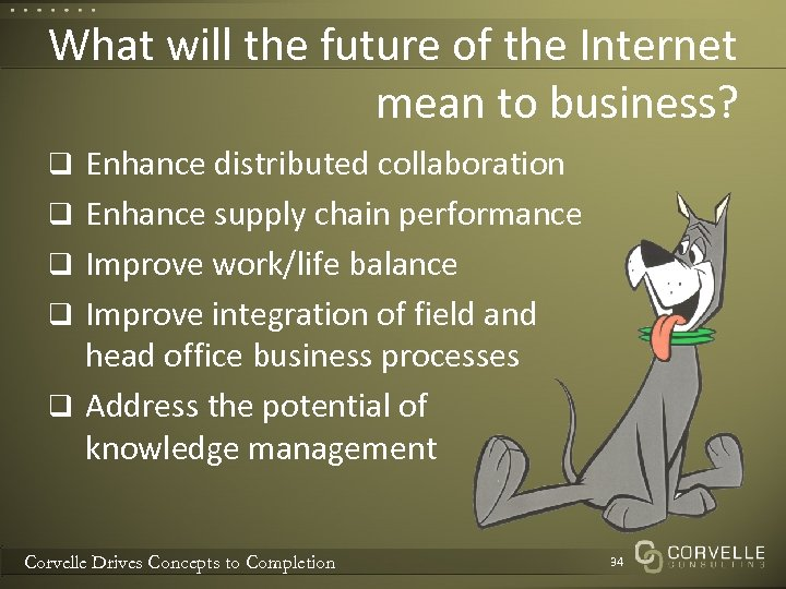 What will the future of the Internet mean to business? q Enhance distributed collaboration