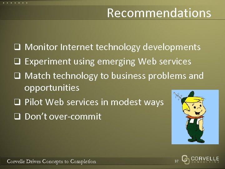Recommendations q Monitor Internet technology developments q Experiment using emerging Web services q Match