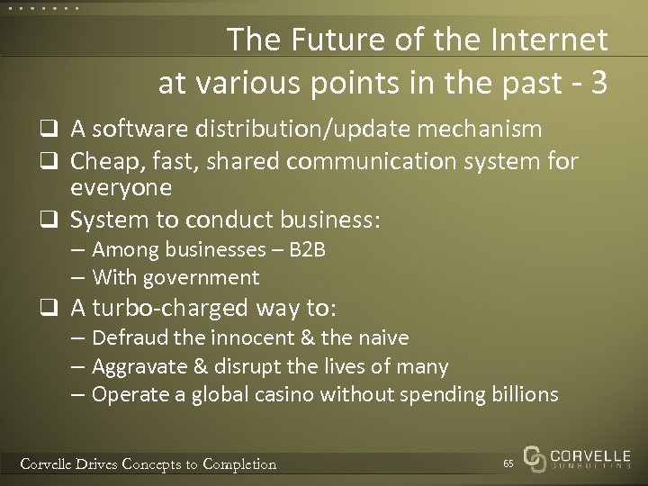 The Future of the Internet at various points in the past - 3 q