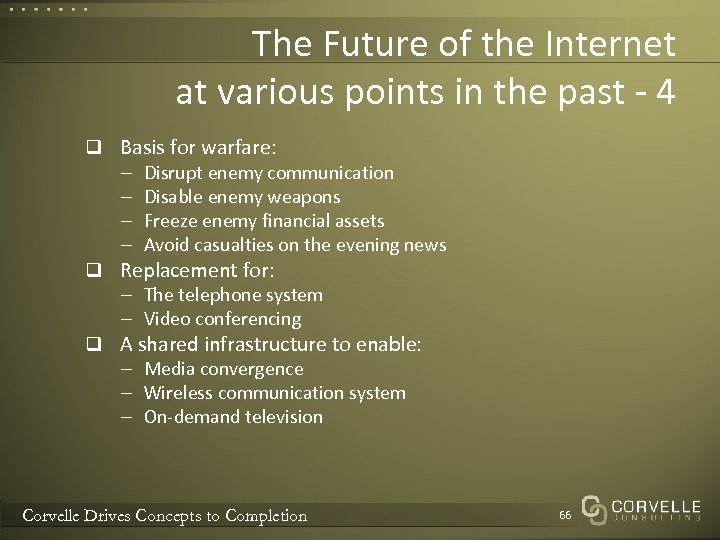 The Future of the Internet at various points in the past - 4 q