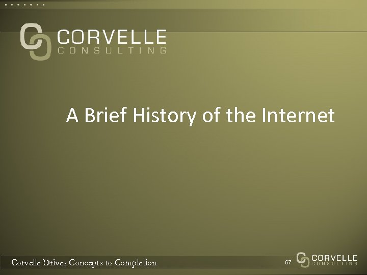 A Brief History of the Internet Corvelle Drives Concepts to Completion 67