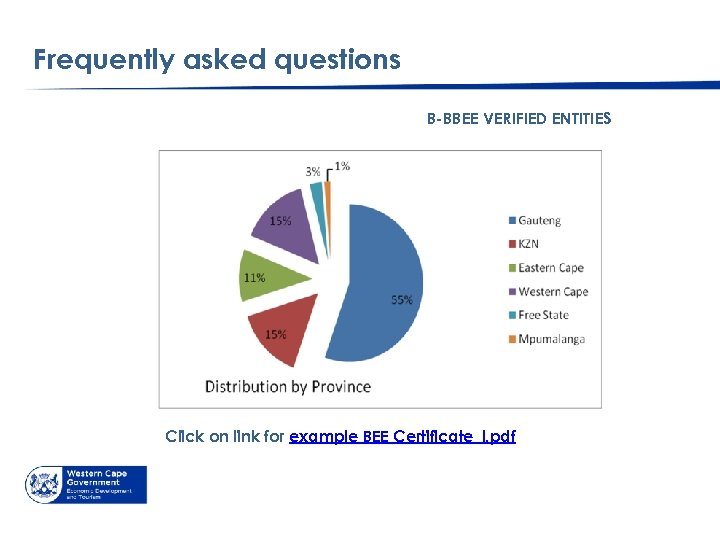 Frequently asked questions B-BBEE VERIFIED ENTITIES Click on link for example BEE Certificate_l. pdf