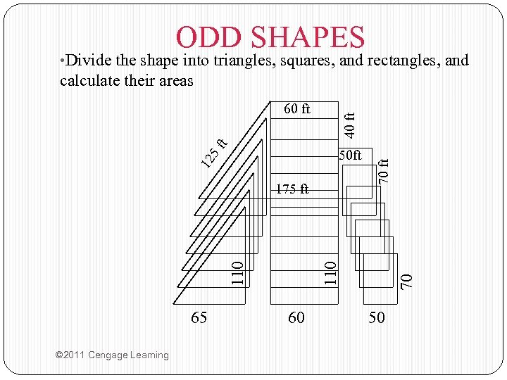 ODD SHAPES • Divide the shape into triangles, squares, and rectangles, and calculate their