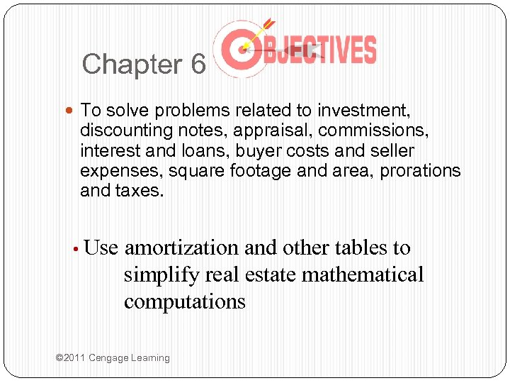 Chapter 6 To solve problems related to investment, discounting notes, appraisal, commissions, interest and