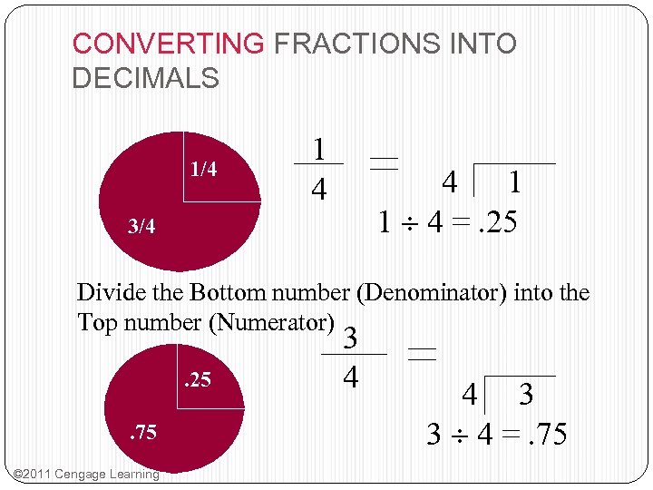 CONVERTING FRACTIONS INTO DECIMALS 1/4 1 4 4 1 1 4 =. 25 3/4