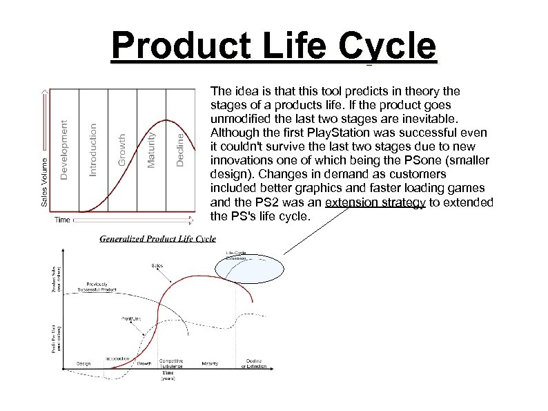 Product Life Cycle The idea is that this tool predicts in theory the stages