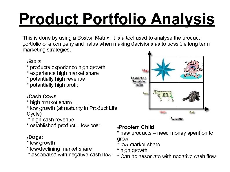 Product Portfolio Analysis This is done by using a Boston Matrix. It is a