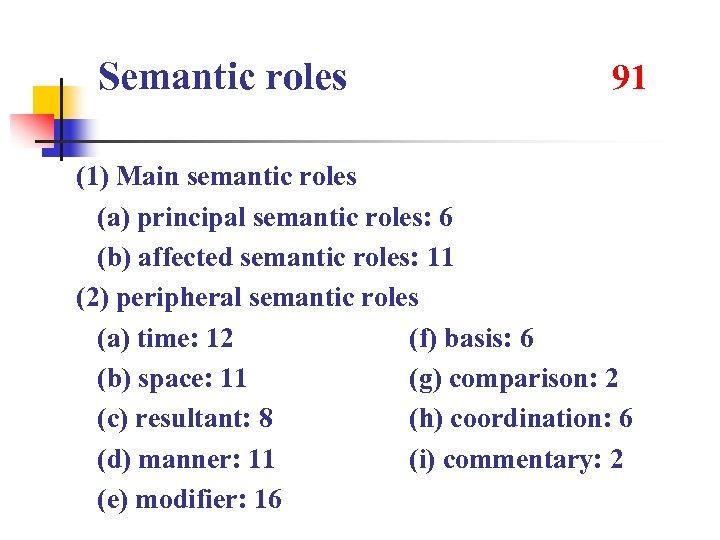 Semantic roles 91 (1) Main semantic roles (a) principal semantic roles: 6 (b) affected