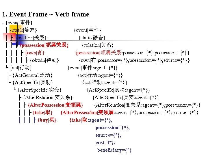 1. Event Frame ~ Verb frame - {event|事件} ├ {static|静态} {event|事件} │ ├ {relation|关系}