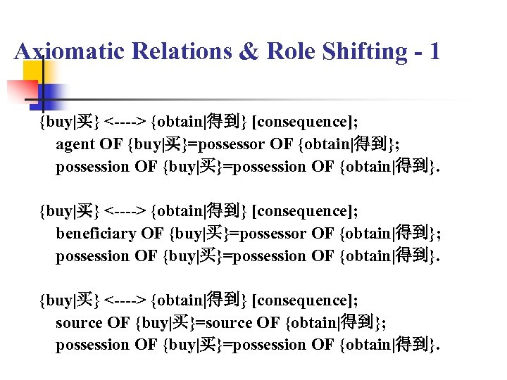 Axiomatic Relations & Role Shifting - 1 {buy|买} <----> {obtain|得到} [consequence]; agent OF {buy|买}=possessor