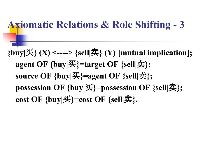 Axiomatic Relations & Role Shifting - 3 {buy|买} (X) <----> {sell|卖} (Y) [mutual implication];