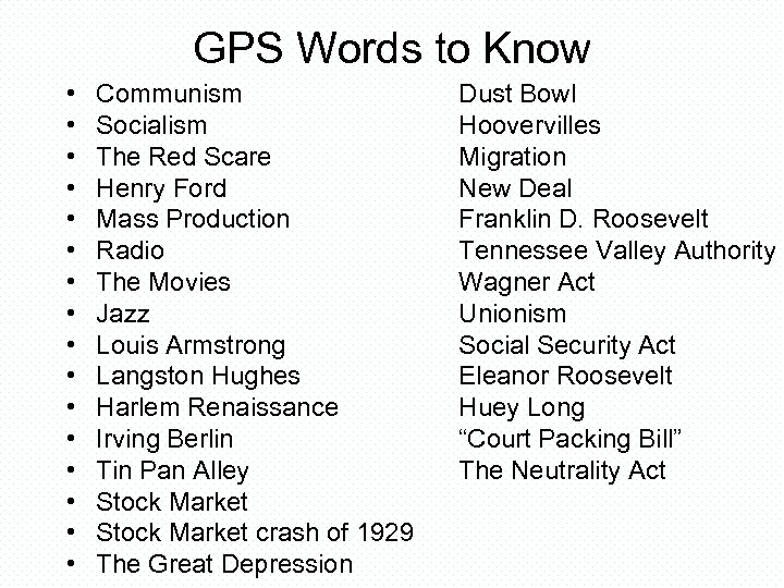 GPS Words to Know • • • • Communism Socialism The Red Scare Henry